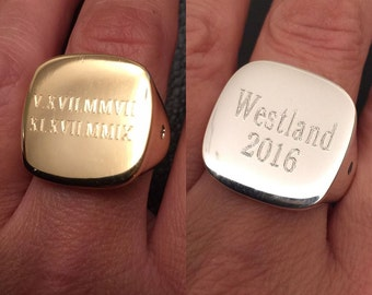 Square signet ring, signet rings, Pinky ring, mens signet ring, gold signet ring - engraved ring - Personalized Ring - Initial Ring