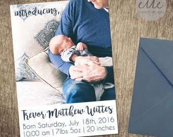 Introducing Birth Announcement, Baby Boy Birth Announcement, Custom Printable, Custom Birth Annoucement, Picture Birth Announcement