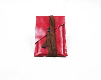 raspberry red leather iPod Touch sleeve (4th gen) or slim wallet