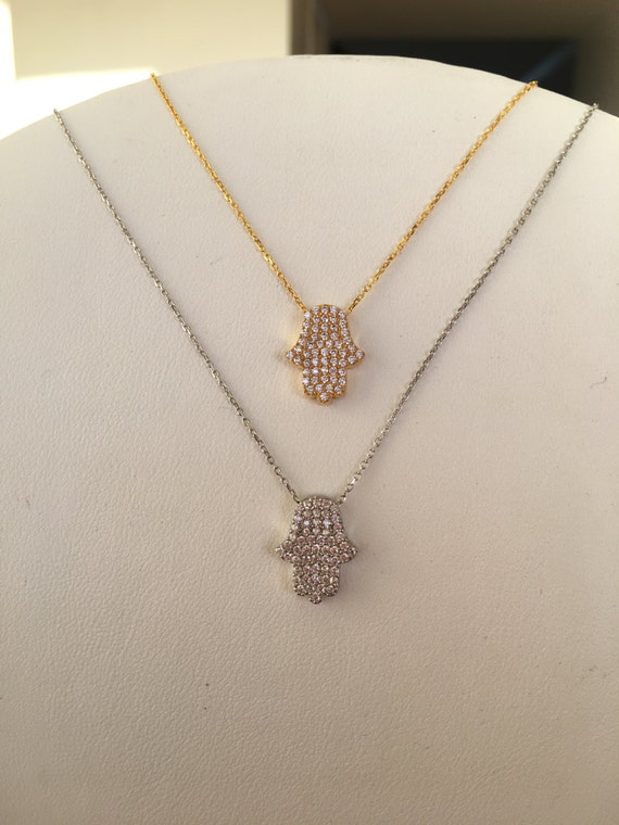 hamsa hand necklace CLEARANCE ! Real sterling silver and cubic zieconia