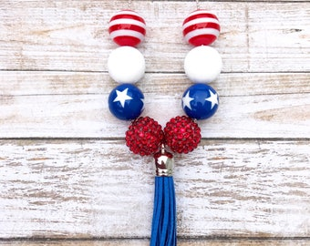 Red White and Blue Tassel Necklace, 4th of July Boho Necklace, Patriotic Jewelry, 4th of July Necklace, Girl Toddler Memorial Day