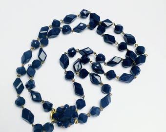 Vintage dark blue double strand necklace 60s