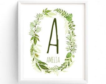 Art Prints, Woodland Custom Letter, Name Monogram, Nursery Printable, Baby Girl, Baby Boy, Green Ferns, Plants, Botanical