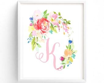 Letter K, Floral Flush Series, Printable Letter Monogram, Nursery Art. Art Prints, Baby Girl Nursery, Wall art Prints
