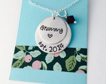 Grandma Necklace, Birthstone Necklace for Grandma, Personalized  Grandma Necklace,