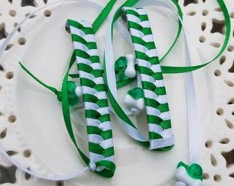 Retro Ribbon Barrettes St. Patrick's Green and White