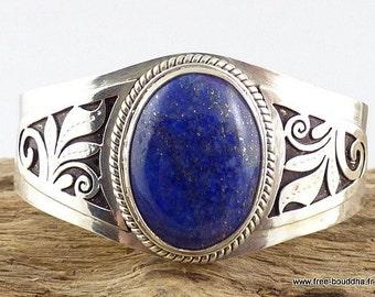 BRACELET LAPIS LAZULI, ethnic jewellery, gem-plated Tibetan silver ref ref05