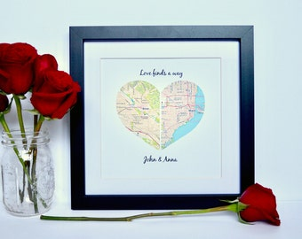 Map Print Engagement gift- Heart Map Home Decor, Newlywed Gifts, Map Gift, Map Art, Customized Wedding, Bridal Shower Gifts, 1st Anniversary
