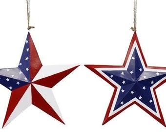 "12"" Star Wall Decor, Patriotic Star, Red White Blue Star, Flag Star, Americana Star, Metal Star, Wreath Supplies - HJ900598"