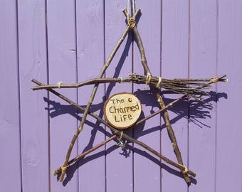 The Charmed Life, Wooden Pentagram, Birch Besom, Witchy Decoration, Pagan Altar, Witch Charm, Home Protection, Broomstick Decor, Pentacle