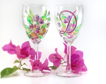 Glasses with Flowers Spring Wedding Glasses Bridal Party Gift Hand Painted Glasses Wedding Personalized Gift Romantic Wine Glasses Gift mom