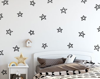 Star Wall Decals - Hand Drawn Star Decals, Nursery Wall Decals, Star Wall Stickers, Removable Wall Decals, Kids Room Decals