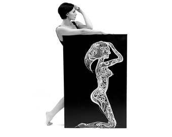 "ORIGINAL Oil Painting 35"" x 28"" Canvas Art Wall decor Abstract wall art Graphic oil art Midnight color Black art FREE SHIPPING Bazarovart"