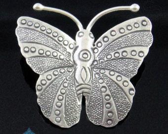 1 PENDANT - Thai Karen Hill Tribe Handmade Silver Butterfly Pendant 34mm KPA108
