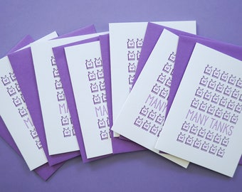 Funny Thank You Cards. Many Tanks Cards. Boxed Set of 6 Letterpress Greeting Cards.