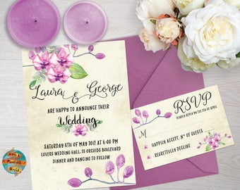 Floral wedding invitation orchids theme, RSVP card, printable, customizable