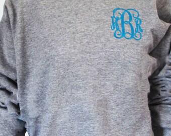 Monogram Sweatshirt - Monogram Crew Neck Sweatshirt-Bridesmaid Gift-Sororities Big Little Gifts-Monogrammed Crew Neck -Plus Size Sweatshirts