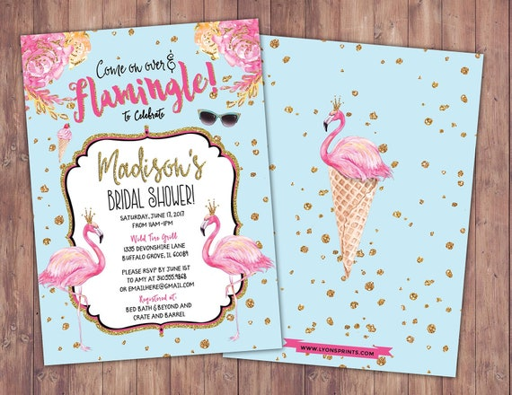 Bridal shower flamingo invitation flamingo party pool party il570xn filmwisefo