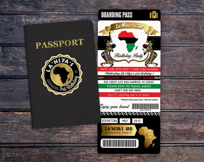 PASSPORT and TICKET Birthday invitation, Bridal Shower invitation, African, Africa Passport, African Birthday, Tribal, African Birthday