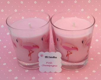 Handmade scented candle.  Pink champagne in flamingo patterned glass!