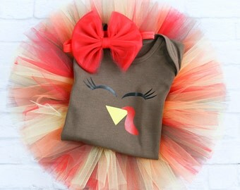 Baby Girl Thanksgiving Outfit - Newborn Thanksgiving Outfit - Infant Thanksgiving - Baby Turkey Tutu - Baby Turkey Outfit - Turkey Baby