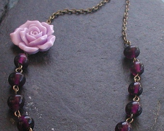 Vintage Inspired Antique Bronze Tones Lilac Flower Glass Beads Necklace
