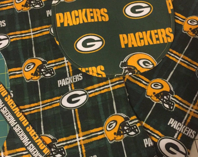 Baby Bib Gift Set, Green Bay Packers Inspired Fabric, Baby Bib, Burp Cloths snd Pacifier Clip