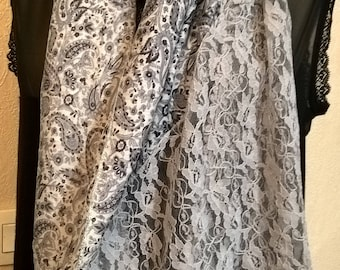 Printed silk, viscose and lace scarf