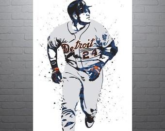 Miguel Cabrera Detroit Tigers, Sports Art Print, Baseball Poster, Kids Decor, Watercolor Contemporary Abstract Drawing Print, Man Cave