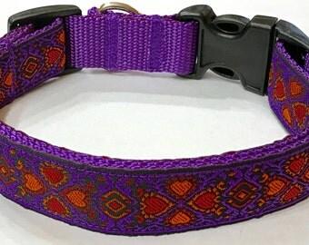 Gorgeous Jacquard Purple/Orange Hearts Ribbon Designer Dog Collar, Stunning Design,Pet Supply, Pet Gift,Gorgeous, Veterinary Gift