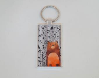 Woodland Bear with Aspen trees key ring