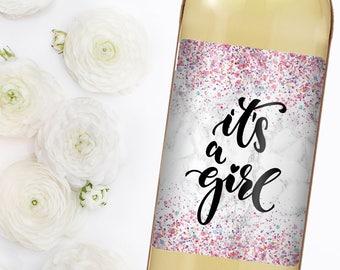 Baby Shower Wine - Custom Wine Label - Personalized Wine Label - Baby Shower Favor - Baby Shower - Baby Shower Gift -It's a girl