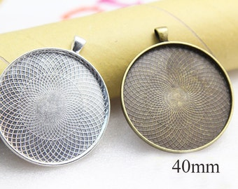 40mm Pendant Tray - Photo Pendant Kit - Glass Pendant 40mm - Round Pendant blanks- Round Blank Cabochon Pendants-Resin Pendant