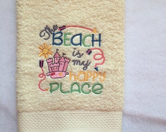 One embroidered Guest , Hand The Beach is my Happy Place Towel,house warming gift, bath decor, fun gift, NicolasSewing,Bath Ac