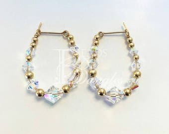 Clear Crystal AB and Gold Earrings