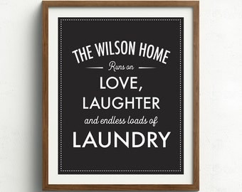 Personalized Laundry Print, Laundry Room Art, Vintage Laundry Sign, Laundry Room Decor, Black and White Laundry Print