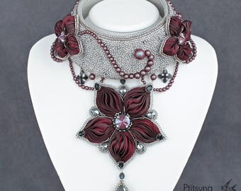 Flowers — the trace of Heaven on the Earth -  finalist of international bead contest of Greenbird and Swarovski - Shibori ribbon necklace
