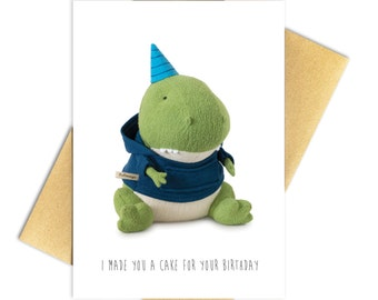 "Birthday T-Rex Card, Funny Birthday Card,  Funny Recycled Paper Greeting Card - 100% PCW Recycled Paper, A7 5"" x 7"""