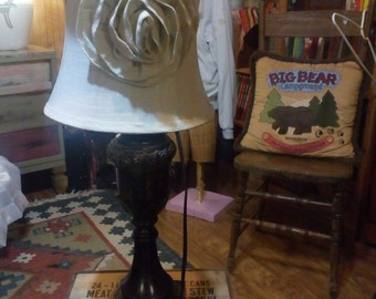 vintage Linen Shade with Resin Lamp..22 inches tall..8 inch Harp