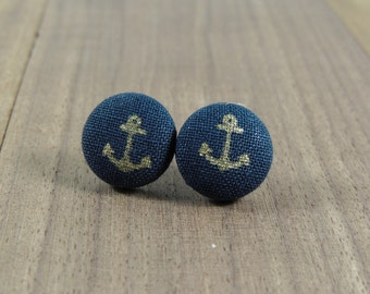 Gold and navy anchor fabric button earrings