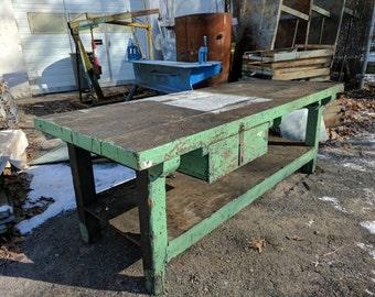 Oak Industrial Work Table