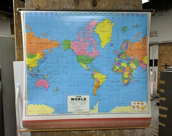 George F. Cram Co. Vintage Classroom World Map #2