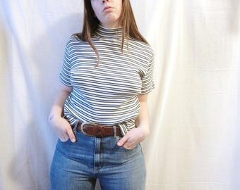SALE // Vintage Cotton Mock-Neck Tee - women's, striped, ribbed, white, green, turtle neck, short sleeve, basic