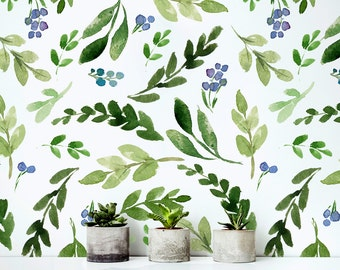 Watercolor Green Leafs - Removable Wallpaper - Colorful Leaves - Peel & Stick - Self Adhesive Fabric - Temporary Wallpaper - SKU: WGLW