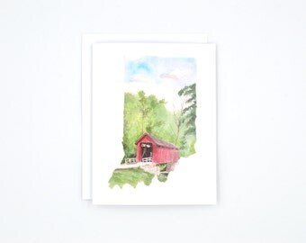 Indiana Notecards - Indiana State Art - Watercolor Notecards - Blank Notecards - Indiana Gift - Indiana Wedding - Stocking Stuffer