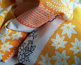 Vintage Japanese Cotton Kimono Fabric, Orange, White, Blue, Flower and Leaf Design, Craft Fabric, Sewing Fabric, Plum Blossom, Shibori