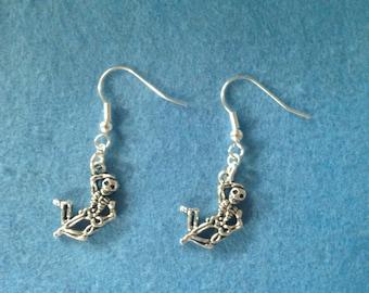 Skeleton charm earrings