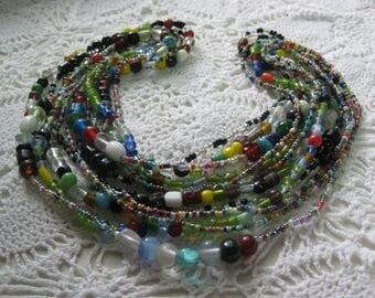 Z-  Glass Mardi Gras beads from New Orleans-Carnival --Parade--lot of six