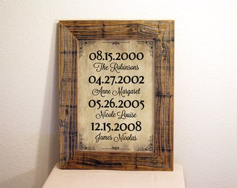 Important Dates Sign in Beige & Black. Custom Signs. Rustic Signs. Reclaimed Wood Frame. Family Dates Sign. Family Name Sign. 12x16
