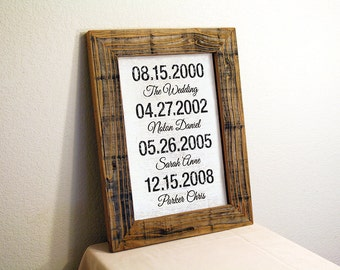 Important Dates Sign. White, Brown, Blue, Black. Custom Signs. Rustic Signs. Reclaimed Wood Sign. Family Dates Sign. Family Name Sign. 12x16